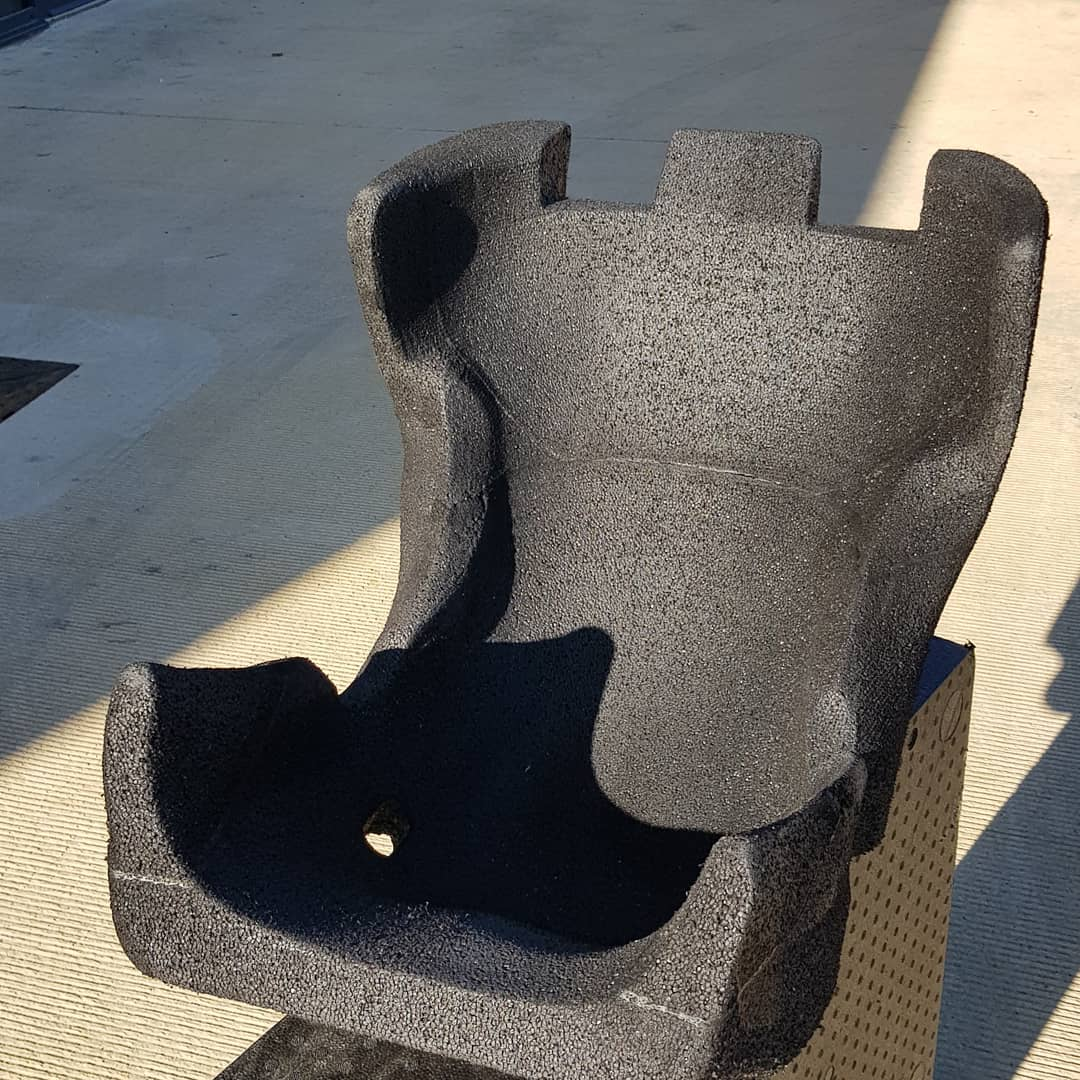 5 axis CNC machined race car seat from 3D scan data