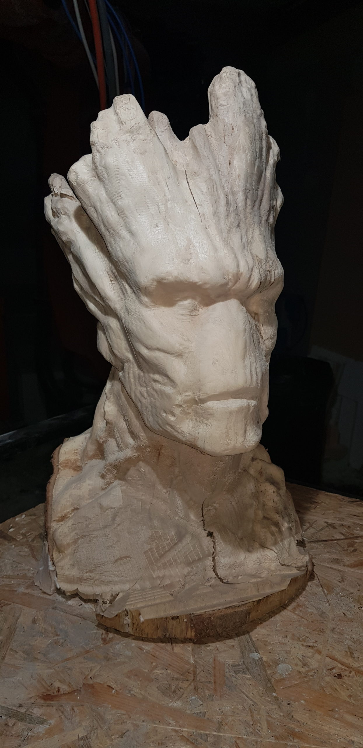 CNC Machined wooden sculpture of Groot from Guardians of the Galaxy